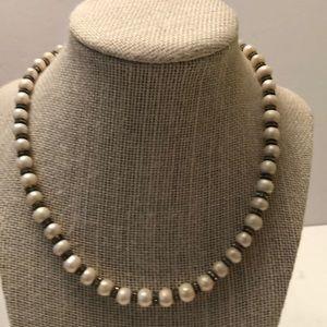 Vintage genuine pearl & crystal  necklace